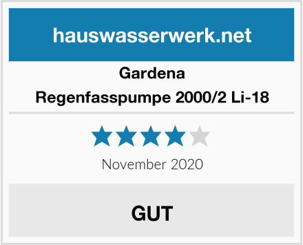 Gardena Regenfasspumpe 2000/2 Li-18 Test